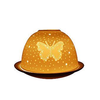 Lys-glød Dome Fyrfadsstage, funklende sommerfugl