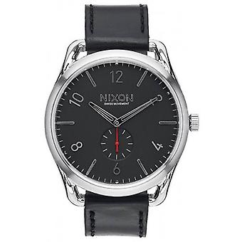 Nixon The C45 Leather Watch - Black/Red
