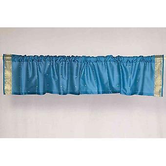 Turquoise - Rod Pocket Top It Off handmade Sari Valance - Pair