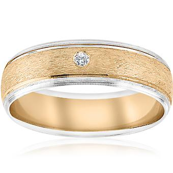 Mens Gold Solitaire Diamond Brushed Wedding Ring Band