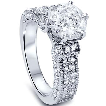 3ct Diamond Vintage Art Deco Engagement Pave Ring 14K White Gold