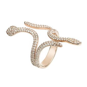 Latelita Serpent Snake Cocktail Ring 925 Sterling Silver White CZ Pink Rose Gold