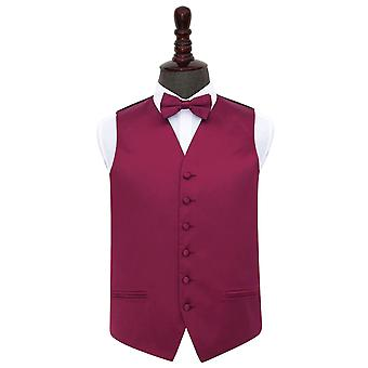 Burgundy Plain Satin Wedding Waistcoat & Bow Tie Set