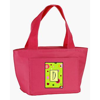 Letter D Monogram - Lime Green Zippered Insulated School Washable and Stylish Lu
