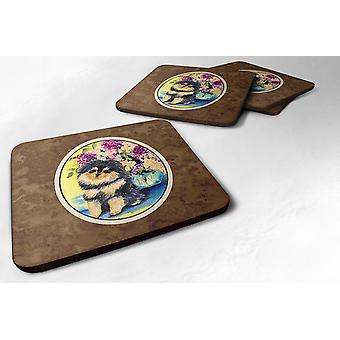 Carolines Treasures  SS8290FC Set of 4 Pomeranian Foam Coasters