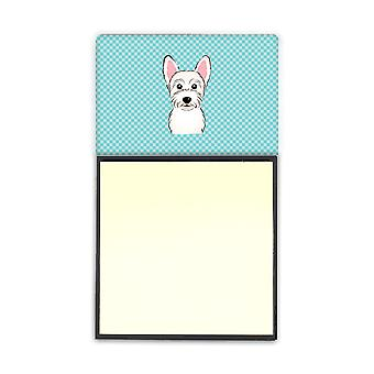 Checkerboard Blue Westie Refiillable Sticky Note Holder or Postit Note Dispenser