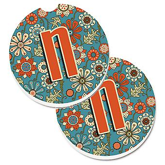 Letter N Flowers Retro Blue Set of 2 Cup Holder Car Coasters
