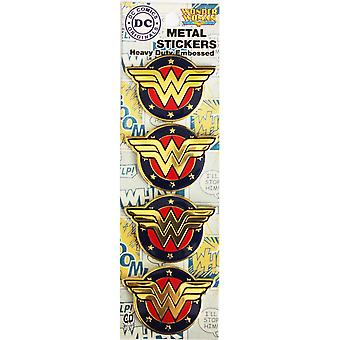 DC Comics Licensed Heavy Duty Embossed Metal Stickers 4/Pkg-Colored Wonder Woman Shield 1.125