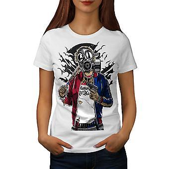 Street Gun War Gangster Women WhiteT-shirt | Wellcoda