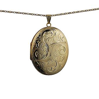 9ct Gold 45x35mm hand engraved oval Locket with a belcher Chain 16 inches Only Suitable for Children