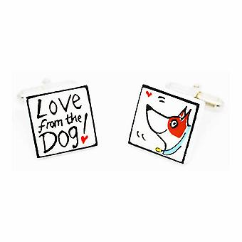 Love from the Dog with Blue Collar Cufflinks by Sonia Spencer, in Presentation Gift Box. Hand painted