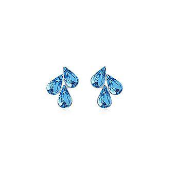 Licht blauwe Womens hanger Stud Oorbellen bloem blad Waterdrop