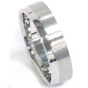 Mens 6mm Brushed Flat Comfort Fit Wedding Band Ring