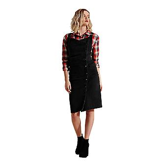 Wrap Denim Dress - Washed Black Popper Front Fastening Pinafore