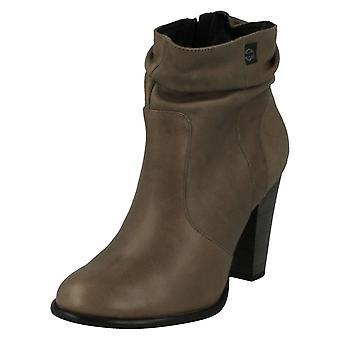 Ladies Harley Davidson Heeled Ankle Boots Stone Brook - Grey Scrunch Leather - UK Size 7 - EU Size 40 - US Size 9