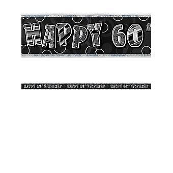 Birthday Glitz Black & Silver 60th Birthday Prism Banner