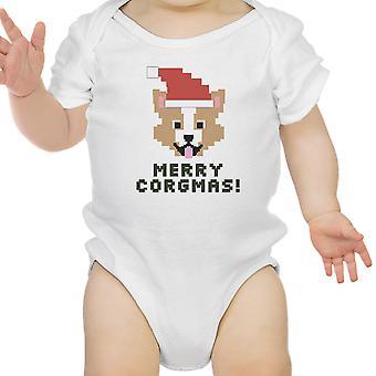Merry Corgmas Corgi White Baby Bodysuit Cute Christmas Baby Gift Idea