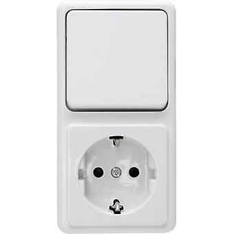 Kopp Switch/socket combo Standard surface-mount Arctic white 108802007