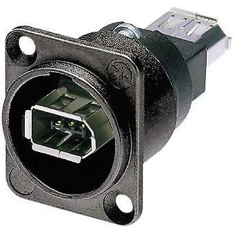 Neutrik NA1394-6-B-W NA1394-6-B-W IEEE 1394 Mounted Socket 6 IEEE Socket, built-in Black