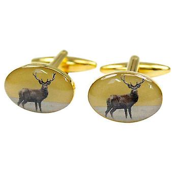 David Van Hagen Standing Stag Country Cufflinks - Gold
