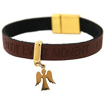 Gemshine verguld - bescherming van vrouwen - armband - Angel - - wensen - Brown donker - magnetische sluiting