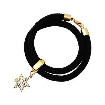 Gemshine - dames - bracelet - armband - 925 zilver - verguld - sneeuwvlok - zwart