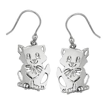 Kinderohrringe Ohrringe silber Ohrhaken, Katze, Silber 925
