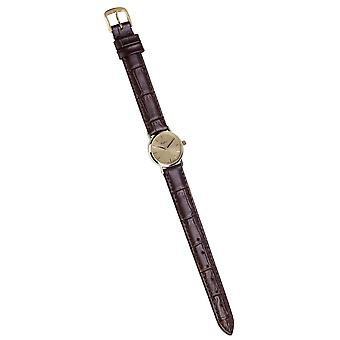 Woodford Swiss Made 9ct Gold Leather Watch - Brown/Gold