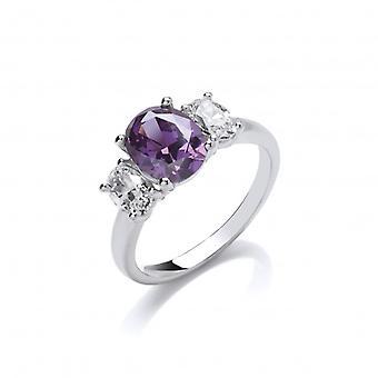 Cavendish francés plata y Cubic Zirconia anillo de amatista de la belleza