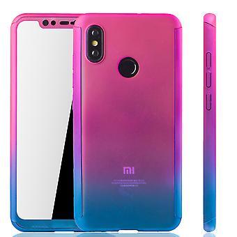 Xiaomi Mi 8 Handy-Hülle Schutz-Case Full-Cover Panzer Schutz Glas Pink / Blau