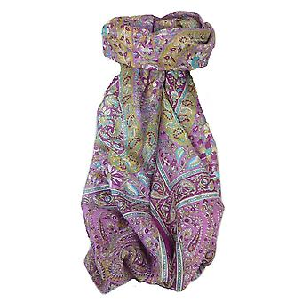Classic Paisley Long Scarf Mulberry Silk Sehgal Plum by Pashmina & Silk