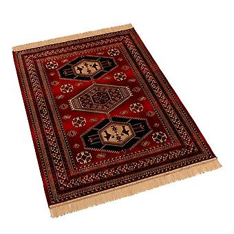 Traditional Red Afghan Kazak Artificial Faux Silk Effect Rugs 9379/12 100 x 140cm