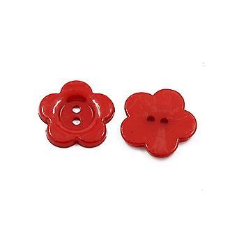 Pacote 50 + flor vermelha acrílico 16mm 2-furos coser botões HA07155