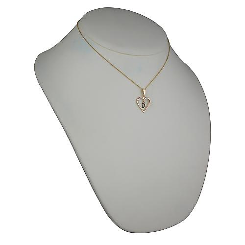 9ct Gold 18x18mm initial D in a heart Pendant with a cable Chain 16 inches Only Suitable for Children