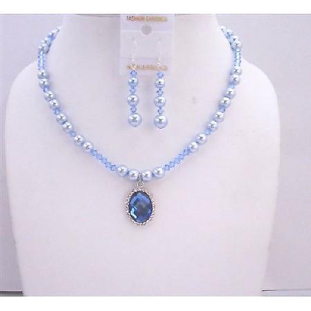 Swarovski Blue Pearls Lite Sapphire Crystals w/ Pendant Necklace Set