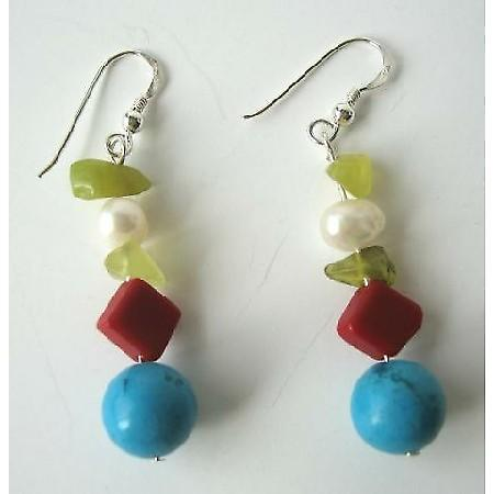 Apple Jade Freshwater Pearl Red Coral Bead & Turquoise Silver Earrings