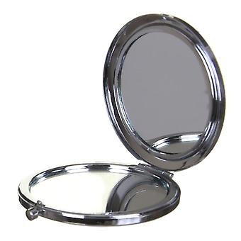 Compact Round Make-Up Mirror Snake Skin Effect Pink