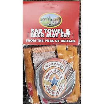 Newcastle Brown Ale Baumwolle Bar Handtuch und 10 Bierdeckel (pp)