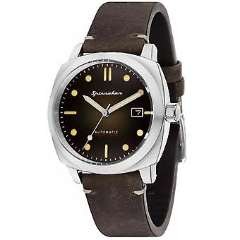 Watch Spinnaker SP-5059-02 - Hull Automatic Brown dial Brown man steel case leather strap