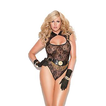 Womens Plus Size Black Lace Teddy Bodysuit Neck Closure Lingerie
