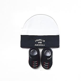 Franklin & Marshall Säugling Baby Todder Hut und Bootie-Set (0-6 Monate) - Navy/weiß