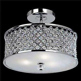 Hudson Modern Chrome Crystal Ceiling Light With Glass Diffuser