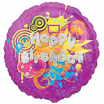Anagram Cool Kidz Happy Birthday Round Holographic Foil Balloon