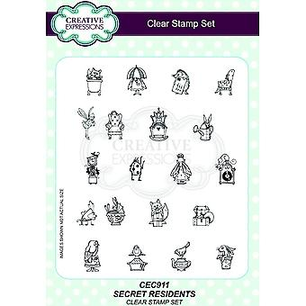 Creative Expressions Secret Residents Clear Stamp Set