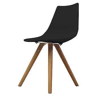 Chaise de salle à manger en plastique noir iconique de fusion vivant avec des jambes en bois clair