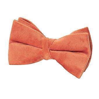 Dobell Mens Orange Velvet Bow Tie Pre-Tied