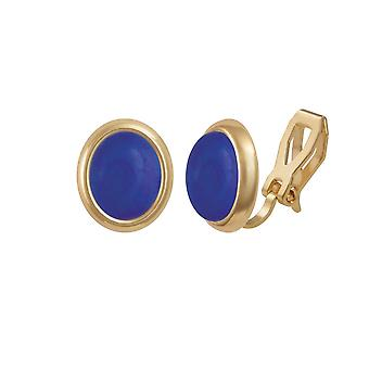 Eternal Collection Minuet Natural Lapis Lazuli Gold Tone Stud Clip On Earrings