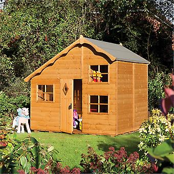 Rowlinson Playaway Wooden Swiss Cottage Playhouse - Tongue and Groove Dip Treated