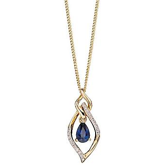 Elements Gold Sapphire and Diamond Marquise Pendant - Blue/Gold/Silver