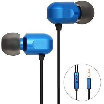 Ggmm fashion metal in-ear earphones stereo noise cancelling blue headset